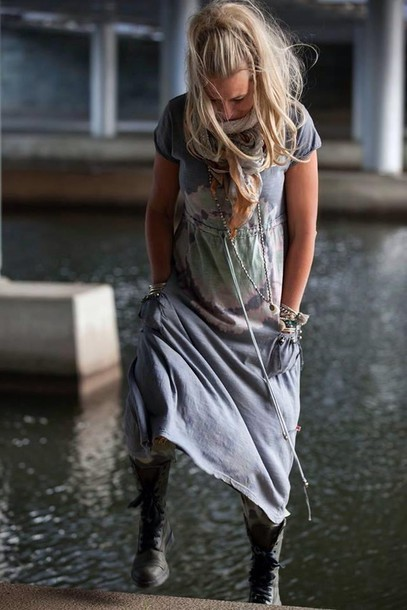 dress grey dress tie dye dress maxi dress hippie chic casual dress casual