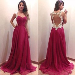 Online shop sexy backless burgundy evening dresses long sweetheart 2015 hot sale see through lace prom gowns vestido de noche buyers show