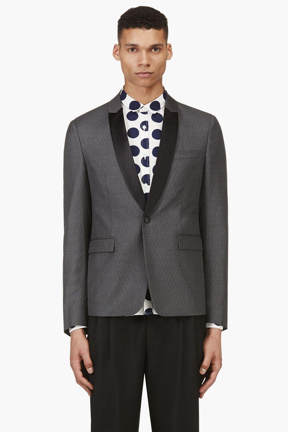 krisvanassche grey wool diamond pinstripe blazer