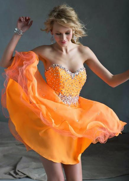 dress orange dress prom dress beaded dress cocktail dress prom sexy dress party dress
