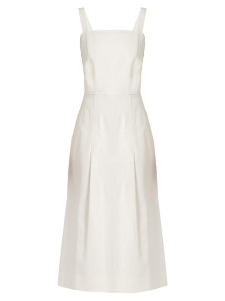 Adam Lippes dress midi dress denim midi white