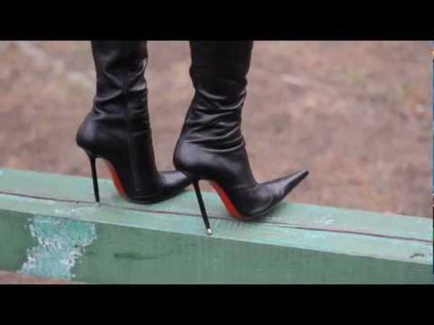 shoes, pointy high heel boots, genuine leather boots, high ...