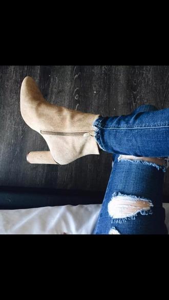 shoes baige wood heels brown booties booties shoes cute love