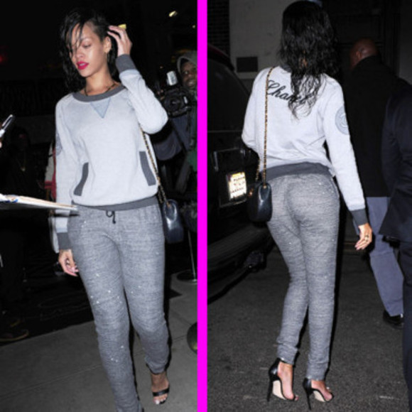 sweater grey sweater chanel sweater rihanna