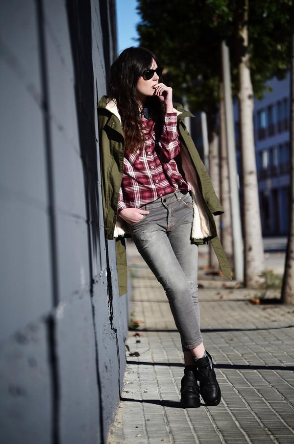 views by laura shoes coat shirt jeans sunglasses