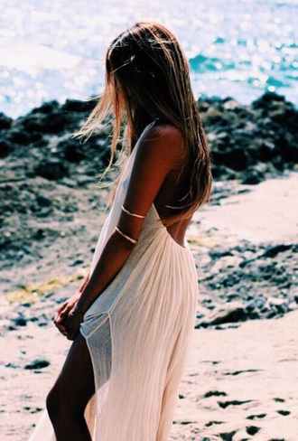 dress boho cream dress maxi dress backless dress gold and white dress