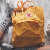 bag,backpack,yellow,fjallraven kanken,socks,sushi