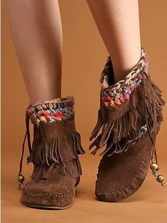 shoes moccasin boots ankle boots brown