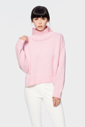 sweater,siizu,pink sweater,baby pink,baby pink sweater,turtleneck sweater,baby pink turtleneck sweater