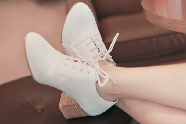 shoes oxford heels white shoes