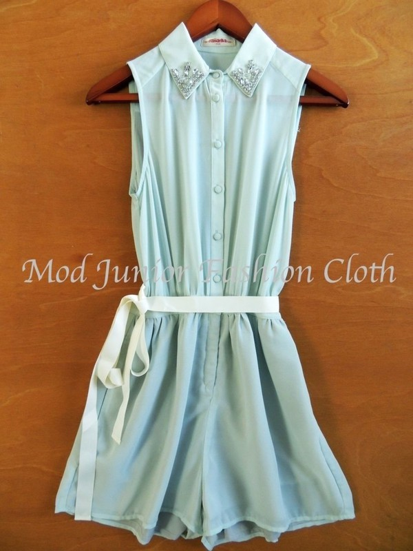 romper jumpsuit romper jumper mint romper sleeveless romper detailed collar jeweled jewels button down shirt back to school outfit fall outfits