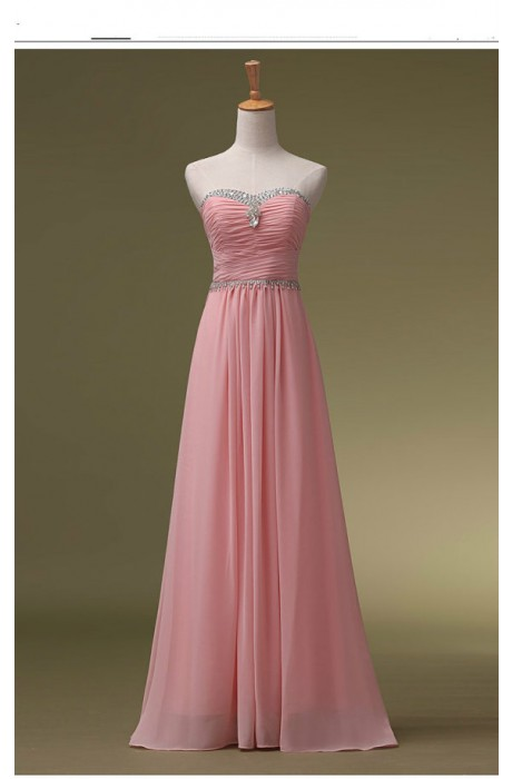 A-line Sweetheart Floor Length Chiffon Blue Prom Dress with Beaded NPD1050 Sale at Shopindress.com