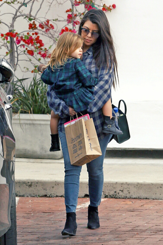 shirt flannel shirt flannel kourtney kardashian boots ankle boots shoes