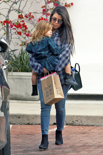 shirt flannel shirt flannel kourtney kardashian boots ankle boots shoes