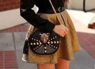 skirt glitter skirt studded purse black shirt boho indie hippie vintage black belt gold glitter skirt fur jewelry winter jacket belt girl