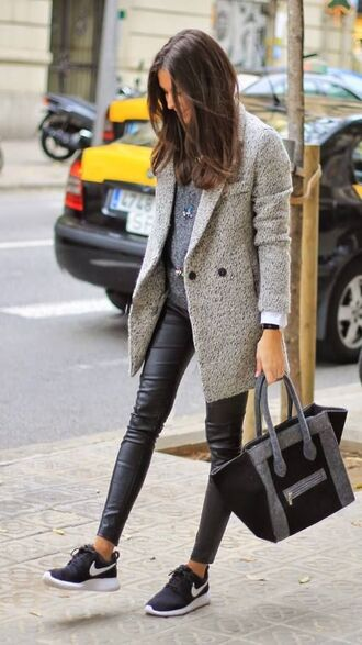 bag wool grey bag black bag look a like celine bag coat grey coat