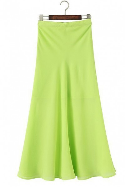 KCLOTH Green Elastic Waist Chiffon Maxi Skirt