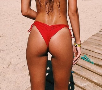 swimwear swimwear two piece bikini bikini bottoms sexy bikini red bikini red red swimwear beach cheeky cheeky bikini bikini's summer