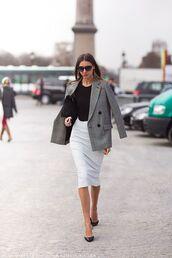 skirt,work outfits,midi skirt,white skirt,top,black top,blazer,grey blazer,bag,black bag,streetstyle,office outfits,sunglasses,black sunglasses,pumps,black pumps,fall outfits