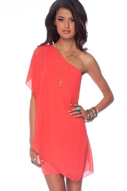 00d1e0506054 dress, coral dress, coral, flowy, off the shoulder, one shoulder ...