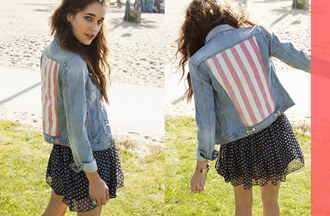 jacket americana chiffon skirt america july 4th denim jacket american flag denim jacket nastygal lookbook star struck lookbook american flag skirt