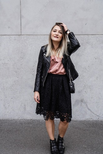 paris grenoble blogger jacket top shoes black leather jacket lace skirt skirt ankle boots boots blouse