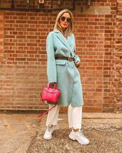 shoes,sneakers,white sneakers,wide-leg pants,cropped pants,white pants,coat,wool coat,handbag,belt,sunglasses
