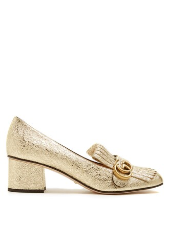 loafers leather gold shoes