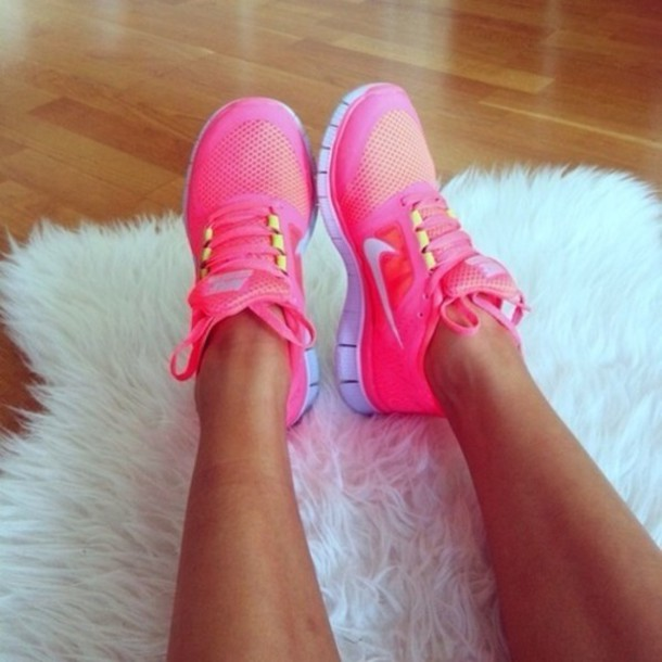 Neon Peach Running Shoes