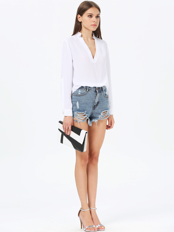 Blusa suelta cuello pico manga larga-blanco