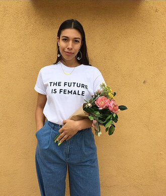 t-shirt feminist feminist tshirt white t-shirt equality earrings hoop earrings silver earrings jewels jewelry silver jewelry denim jeans blue jeans flowers quote on it