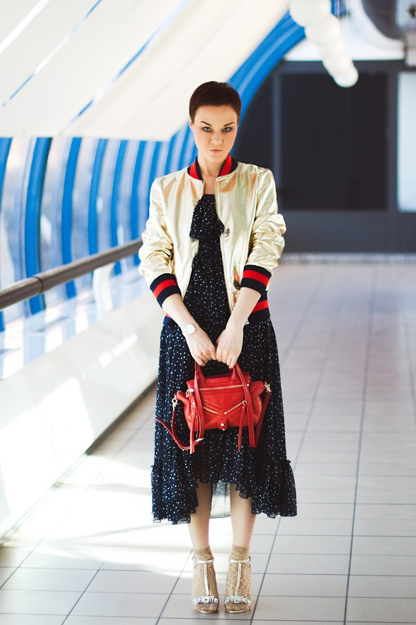 gvozdishe blogger dress shoes bag jewels red bag bomber jacket sandals midi dress