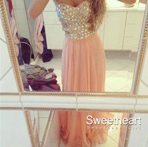 Sweetheart Girl | A-line Strapless Rhinestone Long Prom Dresses, Evening Dresses | Online Store Powered by Storenvy