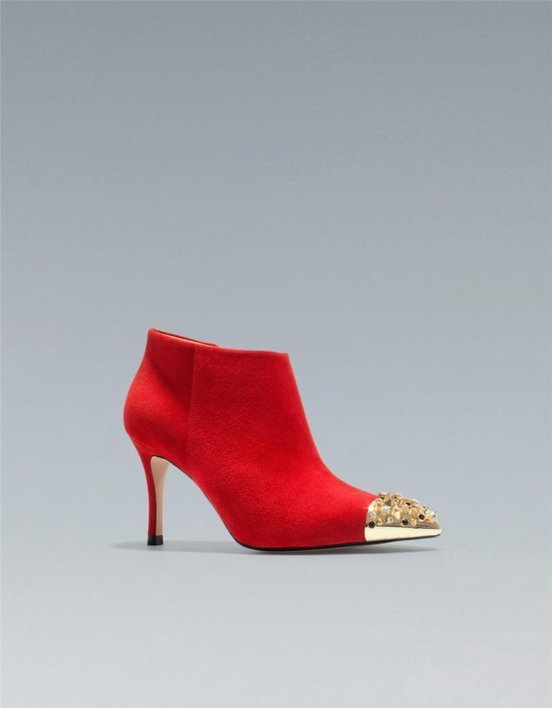 ee0c695821c Zara Suede High Heel Ankle Boot with Studded Cap Toe Red Black ...