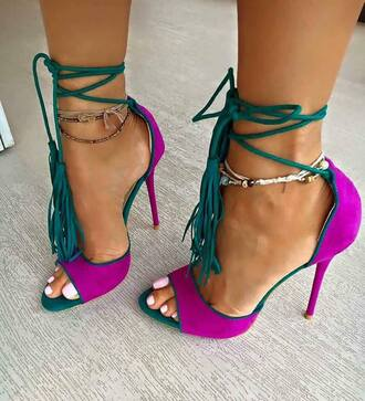 shoes heels purple