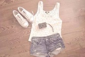 sunglasses,shoes,shirt,blouse,white,lace,top,sleeveless,summer top,summer,shorts