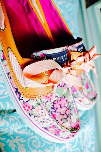 shoes floral flowers colours sperry sperrys nautic boat shoes