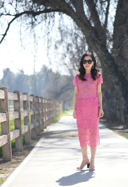 hallie daily blogger pink dress see through dress top skirt shoes coat bag sunglasses jewels