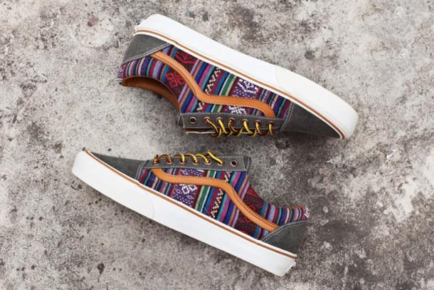 shoes vans old skool vans old skool aztec grey printed vans