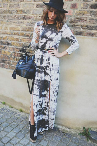 slit skirt celebrity dresses millie mackintosh tie dye black and white dress