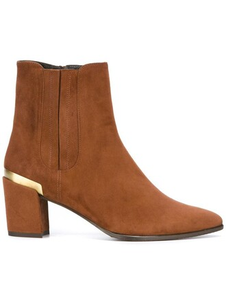 women boots ankle boots leather suede brown shoes