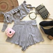 top,two-piece,set,off the shoulder,tie set,tie arms,cute,festive,festival,festival top,festival set,festival looks,coachella set,coachella,coachella two piece,set grey,grey,shorts,matching set,matching top and shorts,bellexo