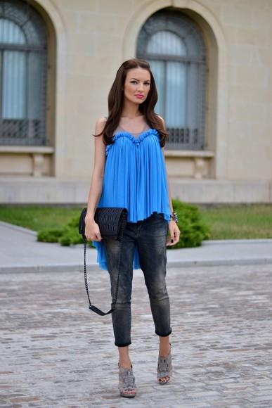 my silk fairytale bag shoes jewels blogger blouse jeans
