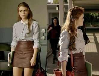 blouse lydia teen wolf holland roden skirt blue shirt leather skirt brown skirt
