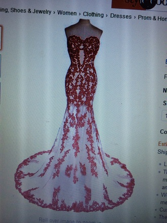 dress white red lace sweetheart