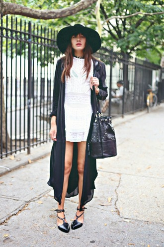 natalie off duty bag shoes hat blogger sandals studs studded bag dress white dress coat hipster