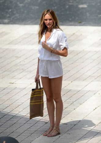 dress white sheer beach summer romper candice swanepoel white romper flowy jumpsuit high top sneakers shorts where can i get this romper ?