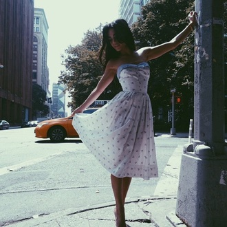 dress white dress vanessa hudgens bustier dress romantic summer dress beautiful blue and white