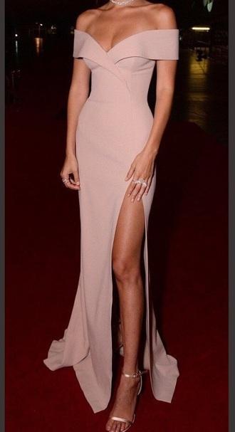 dress off the shoulder bella hadid light pink long dress slit dress