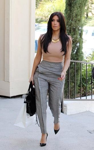 pants kim kardashian office outfits grey pants nude top blouse kim k grey trouser